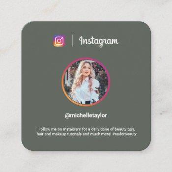instagram photo trendy social media modern green calling card