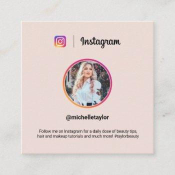 instagram photo trendy social media modern pink calling card