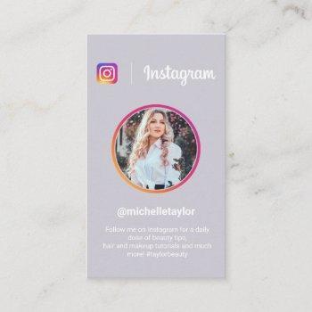 instagram photo trendy social media modern purple calling card
