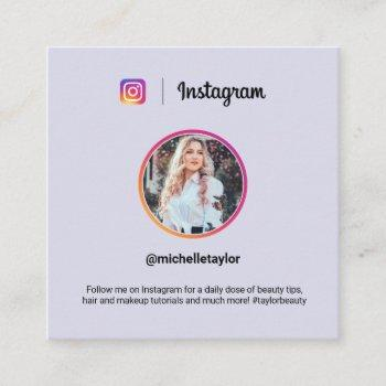 instagram photo trendy social media modern purple calling card