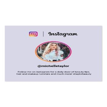 Small Instagram Photo Trendy Social Media Modern Purple Calling Card Front View