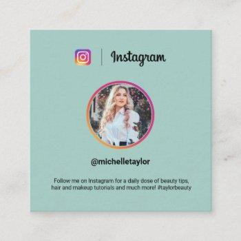 instagram photo trendy social media modern teal calling card