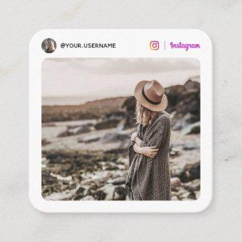 instagram social media photo modern white minimal calling card