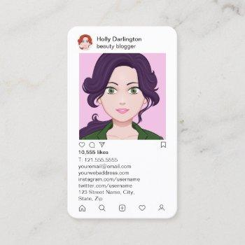 instagram style in stylish faux pink quilt business card