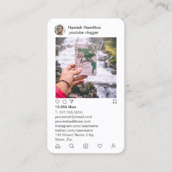 instagram style with faux metallic back business card