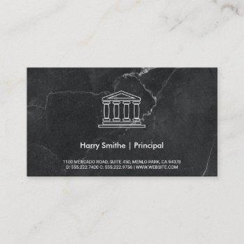 investor | pillar icon | black marble business card