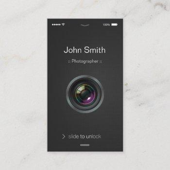 iphone ios style - camera lens photography business card
