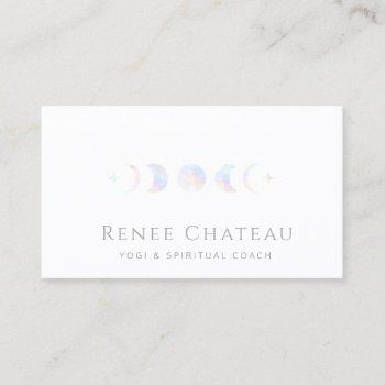 iridescent moon phase business card