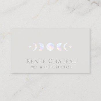 iridescent moon phase yoga spiritual coach business card