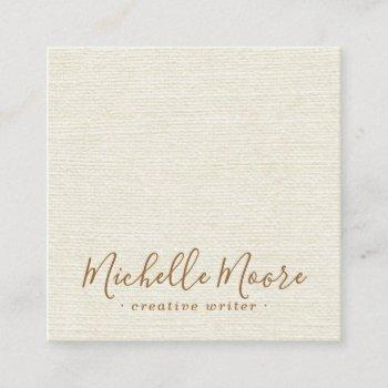 ivory cream linen minimalist elegant professional square business card