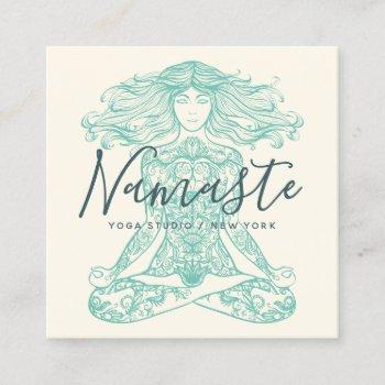 ivory henna mandala yoga instructor meditation square business card