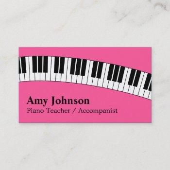 jazzy pink, modern, fun, piano teacher for kids business card
