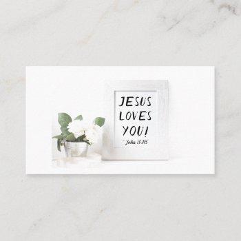jesus loves you! john 3:16, scripture reference business card