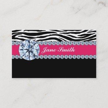 jeweler jewelry zebra print diamond sparkle business card