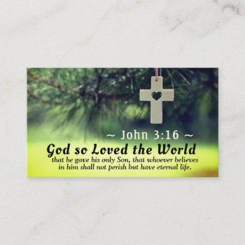 john 3:16 god so loving the world he gave his son, business card
