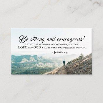 joshua 1:9 be strong and courageous, bible verse business card