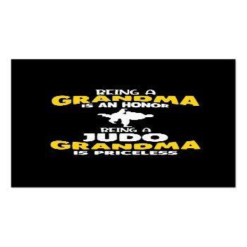 Small Judo Grandma Family Martial Arts Self Defense Business Card Front View
