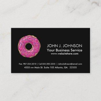 juicy delicious pink sprinkled donut business card