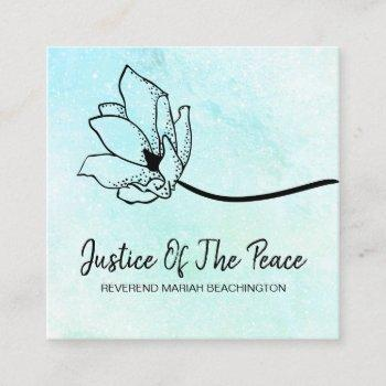 *~* justice of the peace aqua mint  moon crater square business card