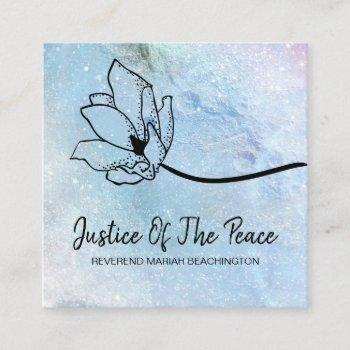 *~* justice of the peace  moon crater floral blue square business card