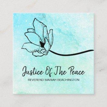 *~* justice of the peace  moon crater floral mint square business card