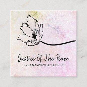 *~* justice of the peace  moon crater peach pink square business card