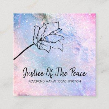 *~* justice of the peace ombre flower moon craters square business card