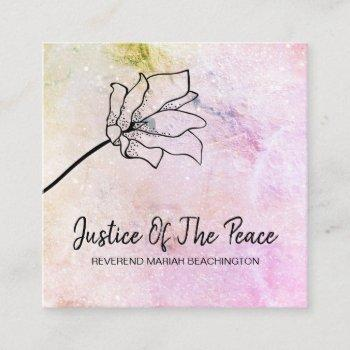 *~* justice of the peace peach flower moon craters square business card