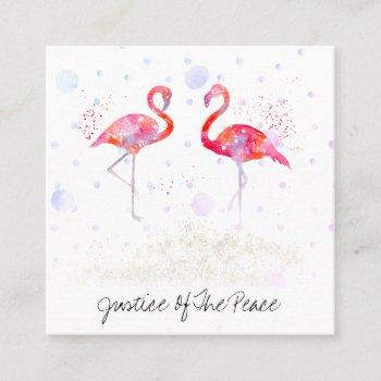*~* justice of the peace - weddings two flamingos square business card