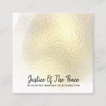 *~* justice of the peace - yellow gold abstract square business card