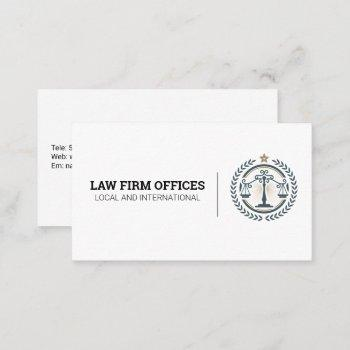 justice scales law logo business card