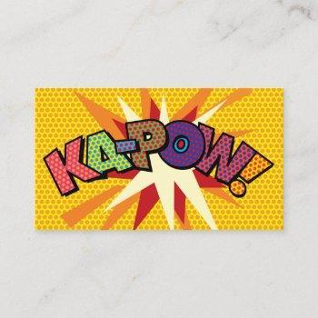 ka-pow fun retro comic book business card