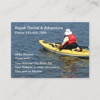 kayak rental & outdoor adventure business card