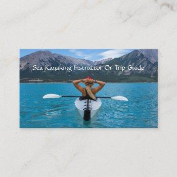 kayaking instructor or tour guide on mountain lake business card