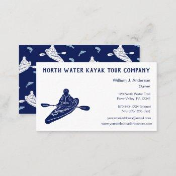 kayaking tours lessons sales navy blue kayak business card