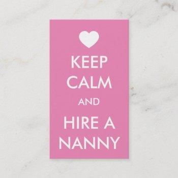 keep calm & hire a nanny business card