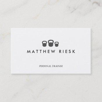 kettle bell personal trainer fitness white 2 business card