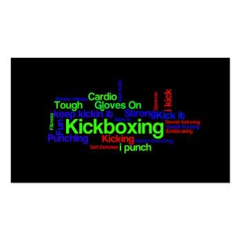 Small Kickboxing Word Cloud Bright On Black Business Card Front View