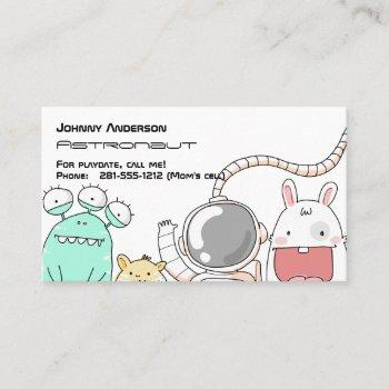 kid astronaut business card for boy playdate