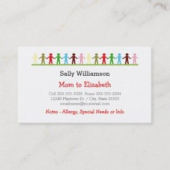 kids holding hands mommy and child custom info calling card