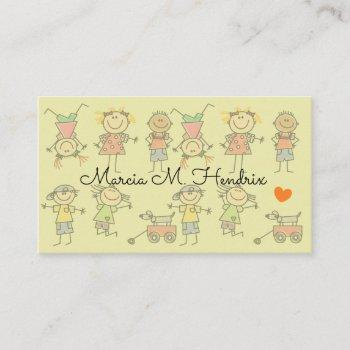 kids playing fun print babysitting services business card