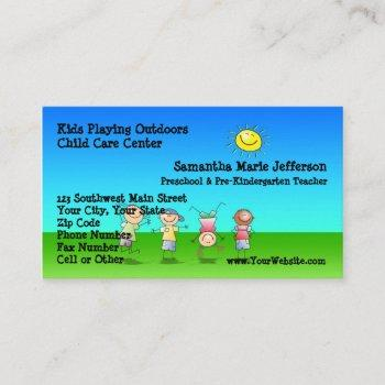kids playing outdoors child care childcare center business card