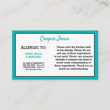 kids teal allergy alert restaurant emergency calling card