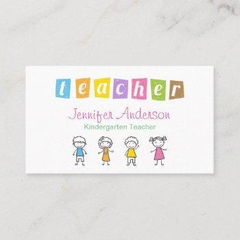 kindergarten teacher crayon hand drawn kids business card