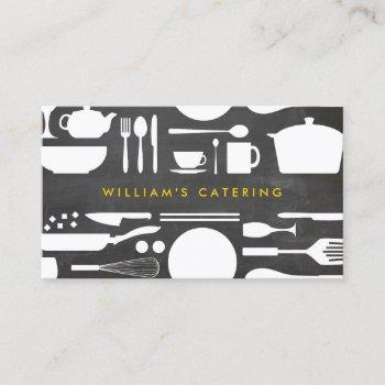 kitchen collage on chalkboard background business card