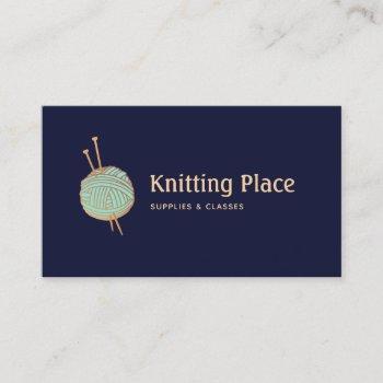 knitters knitting yarn ball logo business card