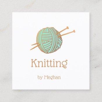 knitters knitting yarn ball logo square business card