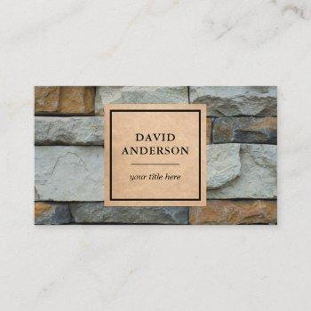 kraft masonry construction stone wall stoneworks business card
