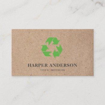kraft modern green eco recycling professional business card