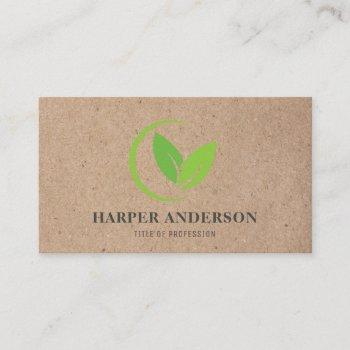 kraft modern minimal green eco professional business card